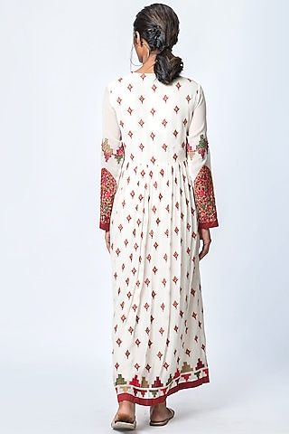 Ivory & Red Printed Midi Dress by Verb by Pallavi Singhee