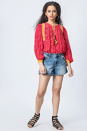 Red Printed Blouse by Verb by Pallavi Singhee