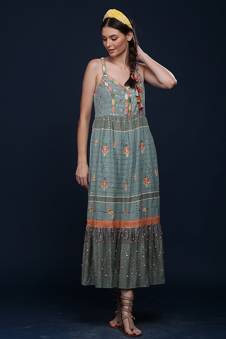 Blue Cotton Sequins Spaghetti Dress by Verb by Pallavi Singhee