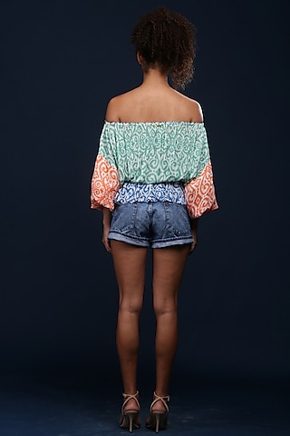 Green Paisley Printed Blouse by Verb by Pallavi Singhee