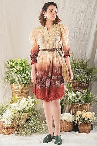 Beige Printed Dress by Verb by Pallavi Singhee