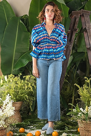 Blue Printed Waisted Blouse by Verb by Pallavi Singhee