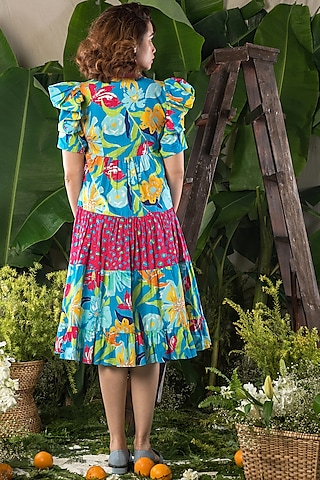 Blue Tropical Printed Tiered Dress by Verb by Pallavi Singhee