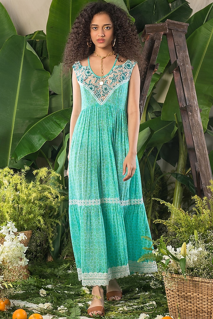 Green Printed Tiered Dress by Verb by Pallavi Singhee