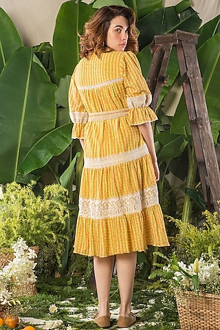 Yellow Printed Dress by Verb by Pallavi Singhee