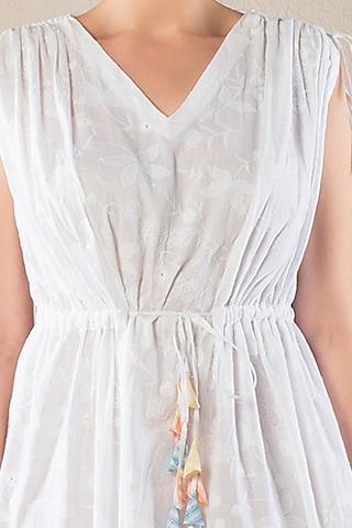 Ivory Printed Schiffly Dress by Verb by Pallavi Singhee