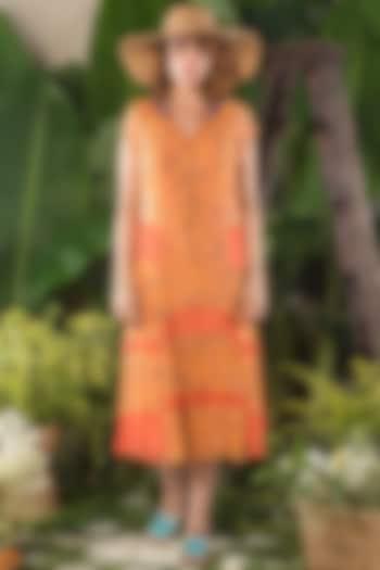 Orange Printed Dress by Verb by Pallavi Singhee