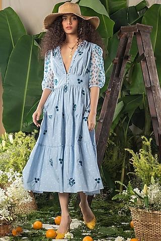 Blue Cotton Printed Dress by Verb by Pallavi Singhee