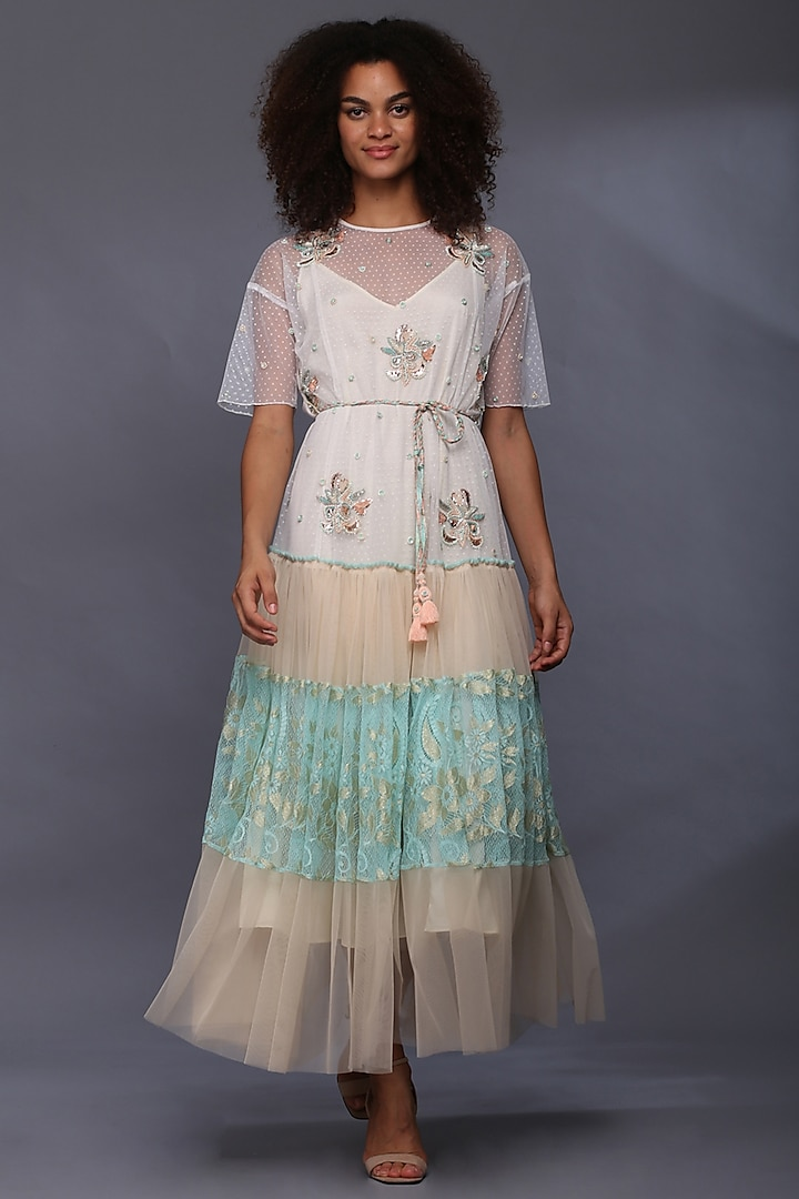 Ivory Boota Embroidered Maxi Dress by Verb by Pallavi Singhee