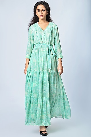 Mint Green Printed Dress by Verb by Pallavi Singhee