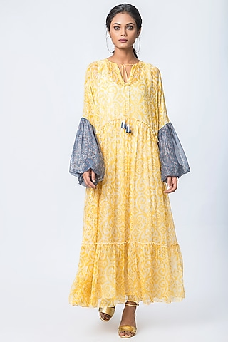 Yellow Printed Tiered Dress by Verb by Pallavi Singhee