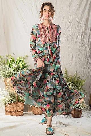 Multi Colored Tiered Dress by Verb by Pallavi Singhee