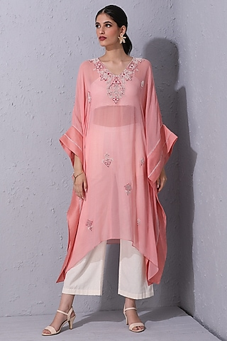 Bubblegum Pink Hand Embroidered Kaftan by Varun Bahl Pret