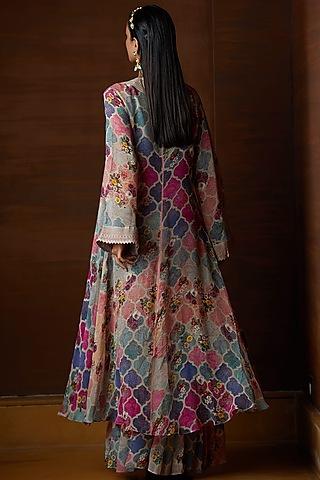 Multi Colored Georgette Overlay Jacket Set by Varun Bahl Pret