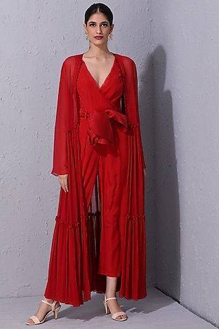 Red Crepe Jumpsuit With Overlay Jacket by Varun Bahl Pret