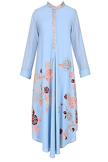 Blue Floral Embroidered Asymmetric Tunic by Varun Bahl