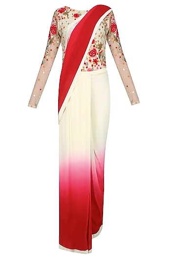 Ivory and Red Ombre Shaded Floral Embroidered Saree Gown by Varun Bahl
