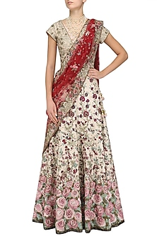 Pale Pink Sequins and Multicolor Embroidered Lehenga set by Varun Bahl