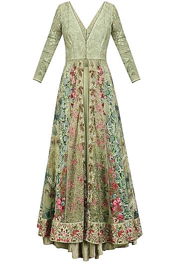 Sage Green Floral Embroidered Jacket Lehenga Set by Varun Bahl