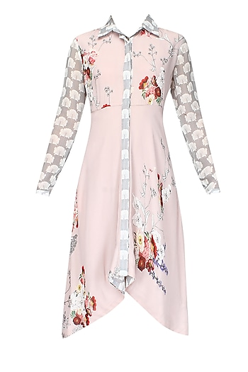 Pale pink floral printed high low shirt dress by Varun Bahl