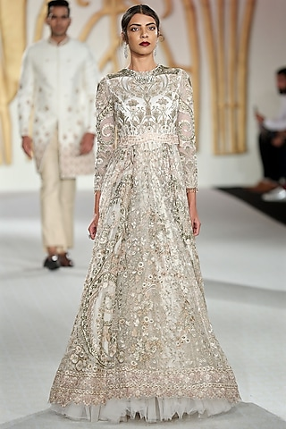 Ivory Embroidered Flared Gown by Varun Bahl