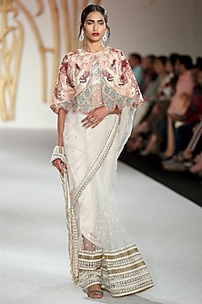Ivory Embroidered Saree and Cape Set by Varun Bahl