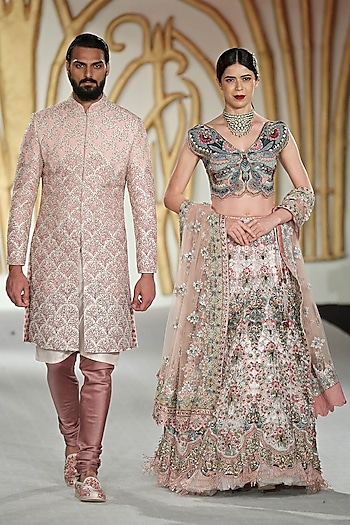 Ivory Embroidered Butterfly Motif Lehenga Set by Varun Bahl