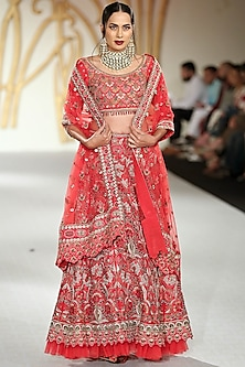 Red Embroidered Lehenga Set by Varun Bahl
