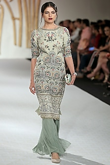 Green Embroidered Kurta with Farshi by Varun Bahl