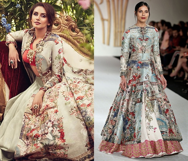 Green Anarkali Jacket with Ivory Skirt by Varun Bahl