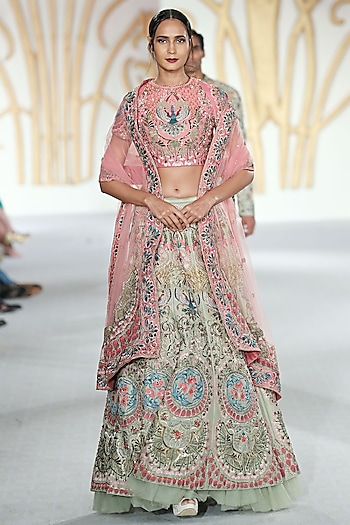 Green and Pink Embroidered Lehenga Set by Varun Bahl