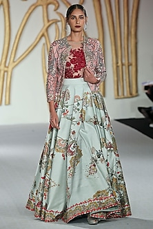 Pink Embroidered Jacket, Bodysuit and Green Skirt Set by Varun Bahl