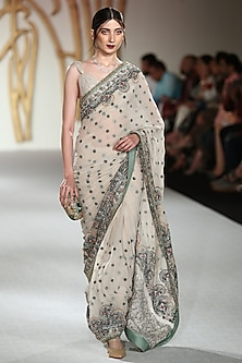 Ivory Embroidered Saree with Blouse by Varun Bahl