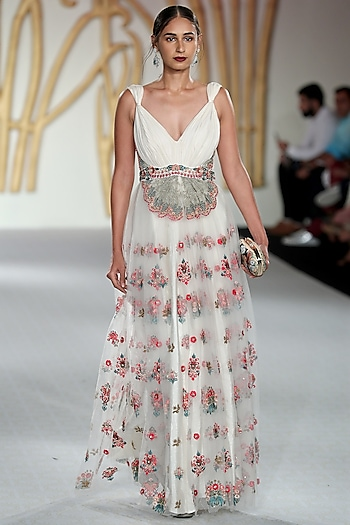 Ivory Multi-Colour Embroidered Gown by Varun Bahl