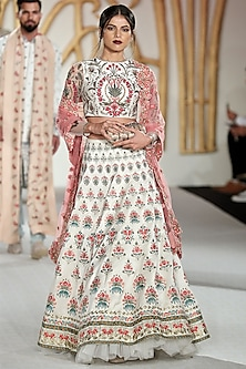Ivory Abstract Embroidered Lehenga Set by Varun Bahl