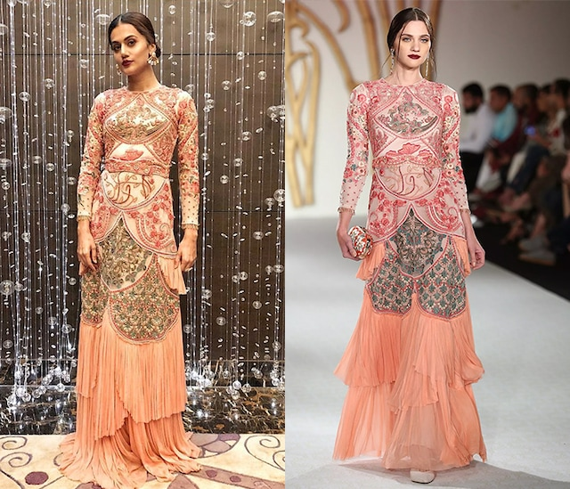Peach Embroidered Drape Layered Gown by Varun Bahl