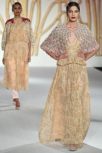 Beige Printed Drape Gown with Peach Scallop Cape by Varun Bahl