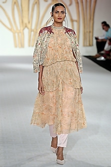Beige Drape Kurta, Trousers and Embroidered Cape Set by Varun Bahl
