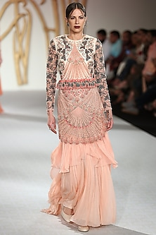 Peach Floral Embroidered Drape Gown by Varun Bahl