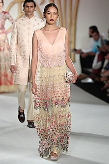 Pale Peach Embroidered Skirt with Gathered Blouse by Varun Bahl