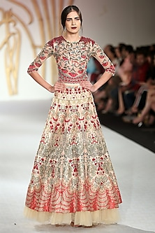 Beige Embroidered Asymmetrical Lehenga Skirt with Bodysuit by Varun Bahl