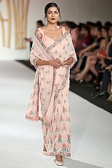 Peach Embroidered Saree with Blouse by Varun Bahl