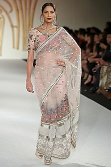 Pale Pink Embroidered Net Saree with Blouse by Varun Bahl