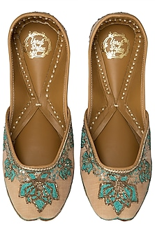 Blush Dual Tone Embroidered Juttis by Vareli Bafna Designs