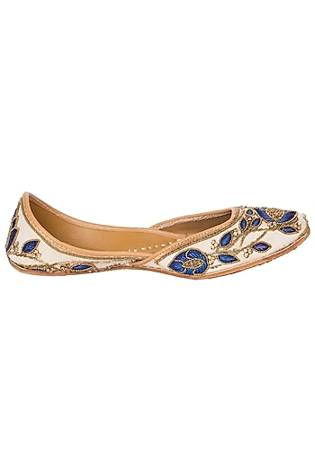 Blue and Off White Embroidered Juttis by Vareli Bafna Designs