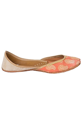 Orange Embroidered Juttis by Vareli Bafna Designs
