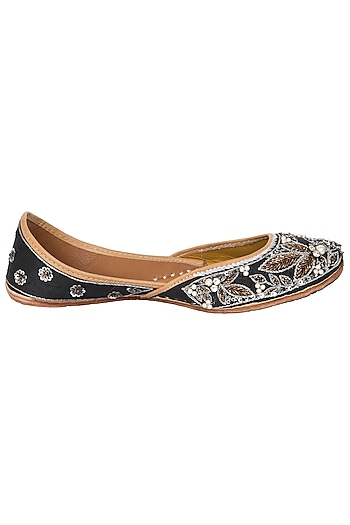 Black Swarovski Embroidered Juttis by Vareli Bafna Designs
