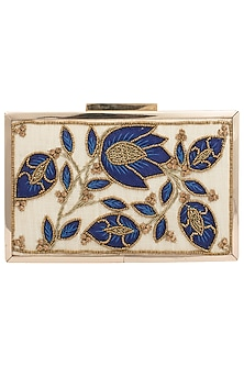 Off White Embroidered Swarovski Clutch by Vareli Bafna Designs