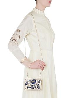 Off White Embroidered Swarovski Clutch by Vareli Bafna Designs
