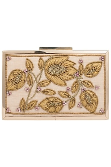 Golden Dual Detailed Embroidered Clutch by Vareli Bafna Designs